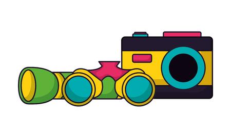 flashlight binoculars and camera camping summer vector illustration