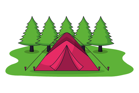 tent and forest camping landscape vector illustration Stock Illustratie