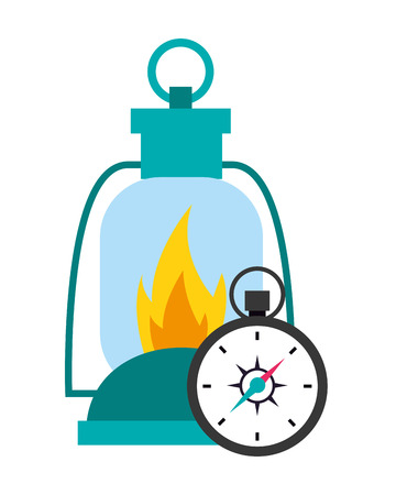 lantern and compass camping summer vector illustration Illusztráció