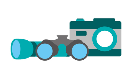 flashlight binoculars and camera camping summer vector illustration