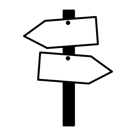 wooden guide signal on white background vector illustration Çizim