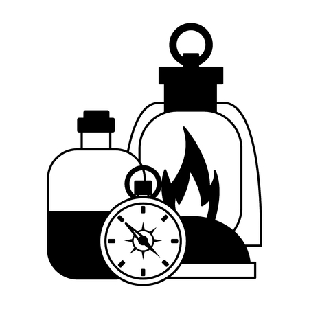 lantern compass and bottle camping summer vector illustration Çizim