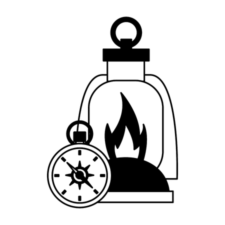 lantern and compass camping summer vector illustration Çizim