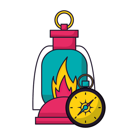 lantern and compass camping summer vector illustration Stock Illustratie