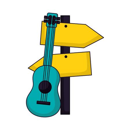 guitar guide signal camping summer vector illustration Stok Fotoğraf - 112718586
