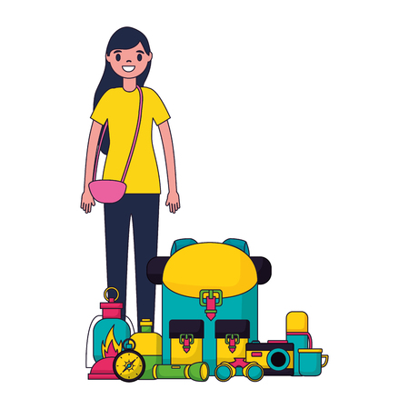 woman with backpack and equipment camping vector illustration 스톡 콘텐츠 - 127353685