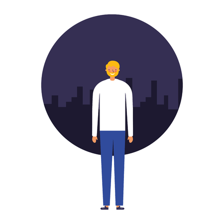 man standing with city background vector illustration