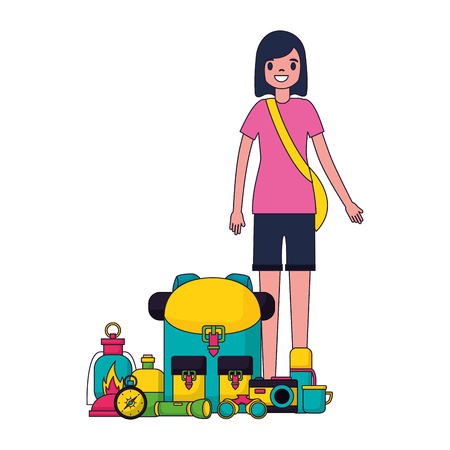woman with backpack and equipment camping vector illustration 스톡 콘텐츠 - 127353725
