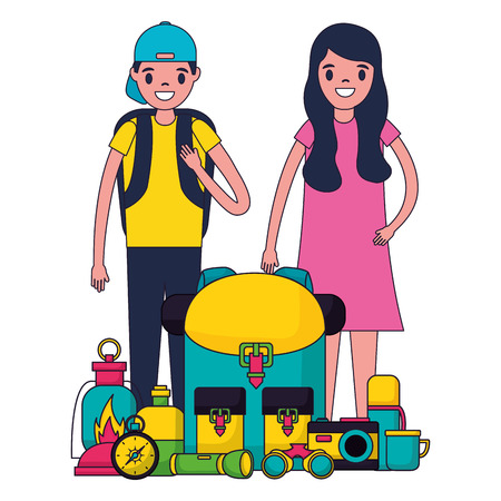 happy couple with equipment camping vector illustration Иллюстрация