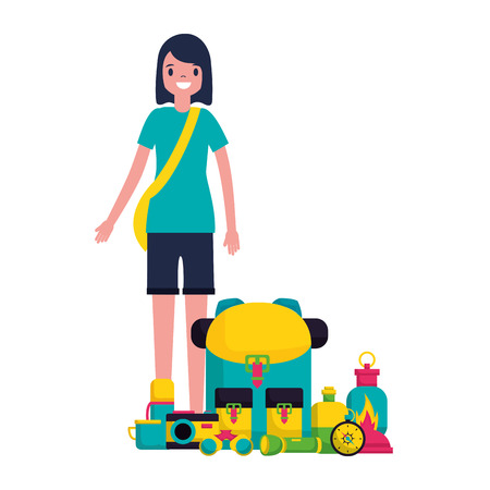 woman with backpack and equipment camping vector illustration