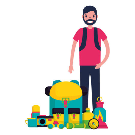 man with backpack and equipment camping vector illustration