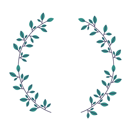wreath floral branch on white background vector illustration Archivio Fotografico - 127353736