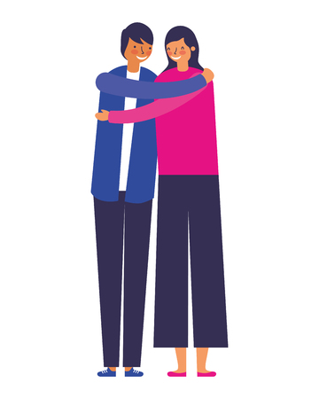 couple embraced romantic on white background vector illustration 向量圖像