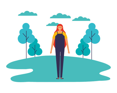 woman standing outdoors in the park vector illustration