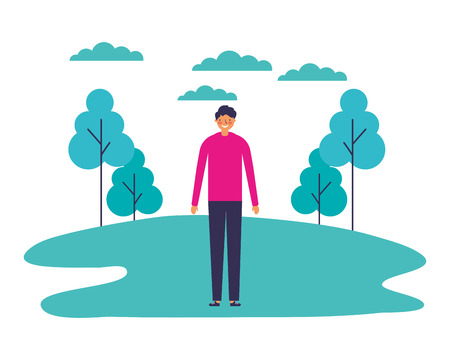 man standing outdoors in the park vector illustration