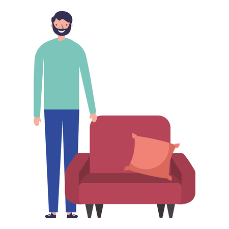 man standing near sofa with cushion vector illustration