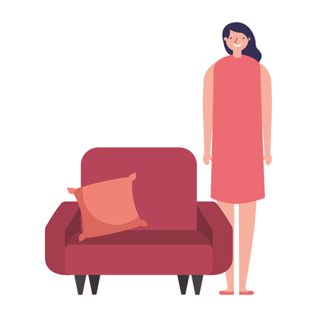 woman standing near sofa with cushion vector illustration