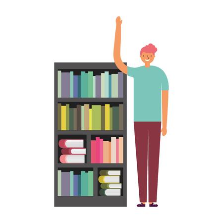man with bookshelf books literature vector illustration Foto de archivo - 127353775