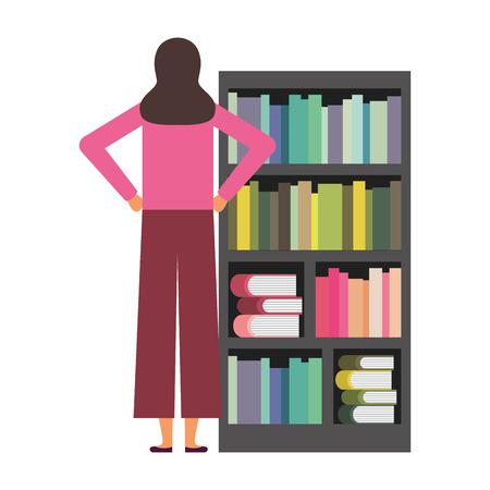 woman with bookshelf books literature vector illustration Foto de archivo - 127353776