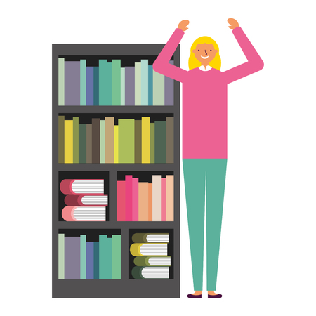woman with bookshelf books literature vector illustration Foto de archivo - 112719632