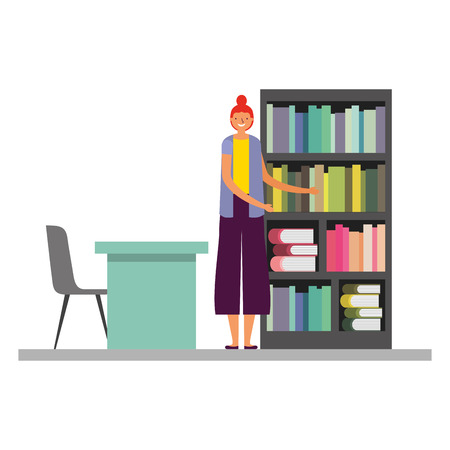 woman with bookshelf desk and chair vector illustration Foto de archivo - 127353779
