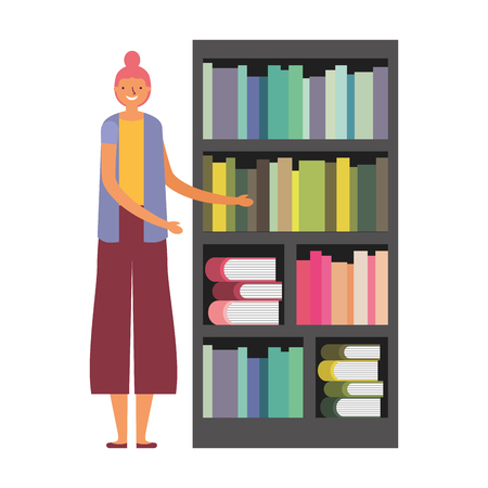 woman with bookshelf books literature vector illustration