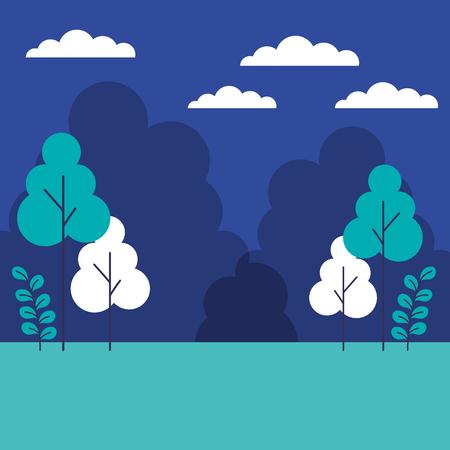 landscape nature trees sky clouds vector illustration Illustration