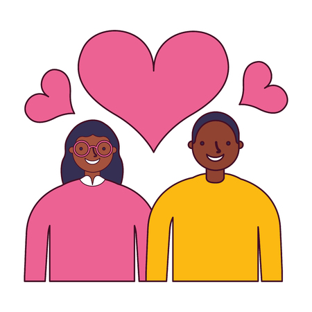 couple in love romantic hearts vector illustration