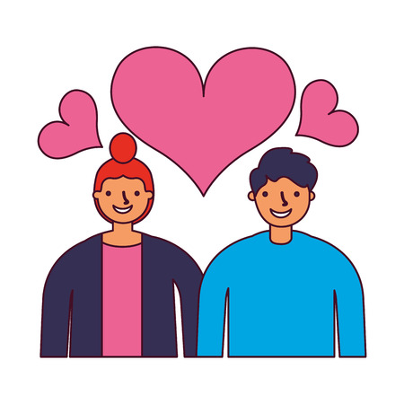 couple in love romantic hearts vector illustration