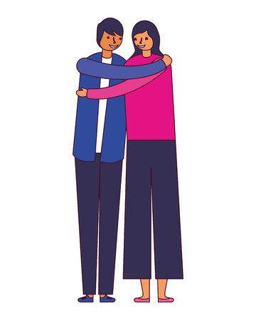 couple embraced romantic on white background vector illustration Иллюстрация