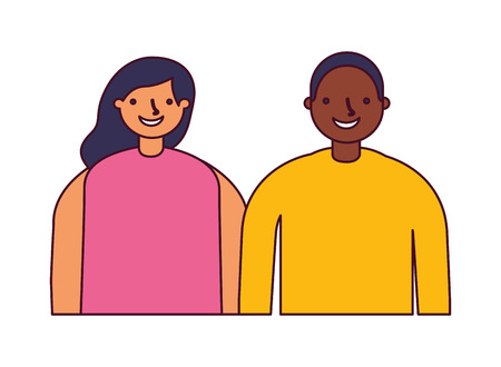 couple characters on white background vector illustration