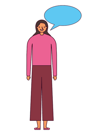 woman character with speech bubble vector illustration Illustration