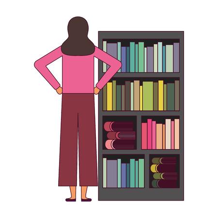 woman with bookshelf books literature vector illustration Foto de archivo - 127353818
