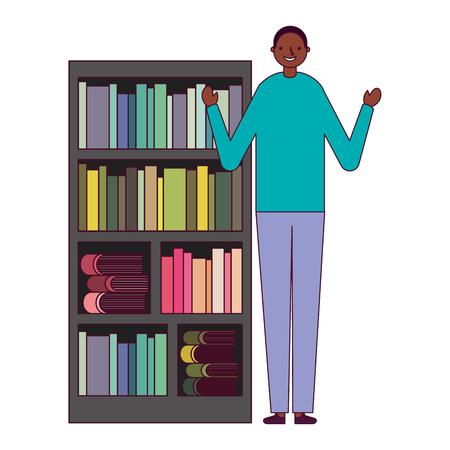 man with bookshelf books literature vector illustration Foto de archivo - 127353819