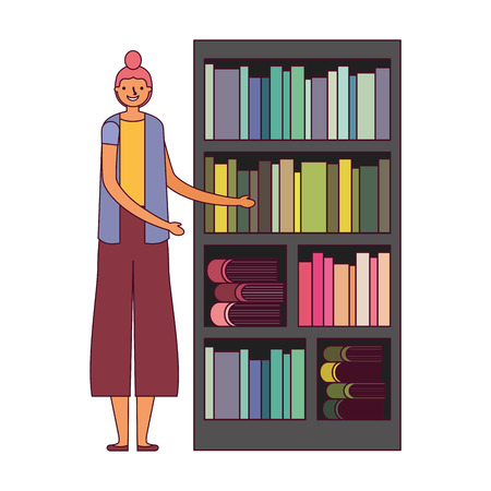woman with bookshelf books literature vector illustration Foto de archivo - 127353821