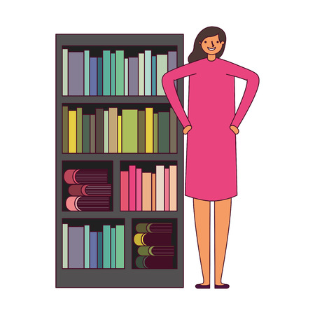 woman with bookshelf books literature vector illustration Foto de archivo - 127353822