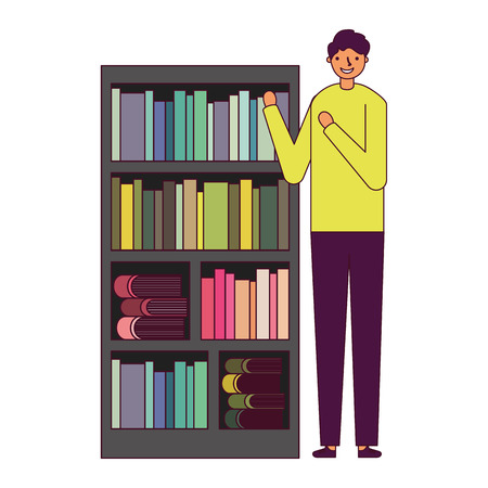 man with bookshelf books literature vector illustration Foto de archivo - 127353823