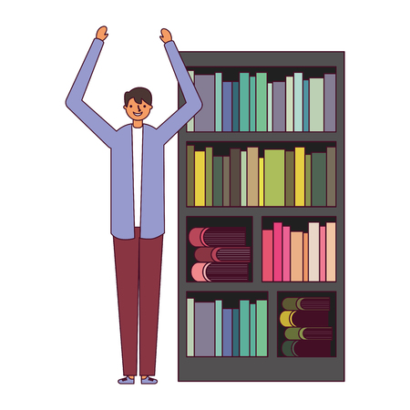 man with bookshelf books literature vector illustration