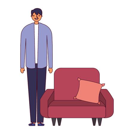 man standing near sofa with cushion vector illustration Ilustrace