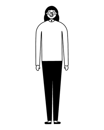 woman cartoon character on white background vector illustration monochrome Illustration