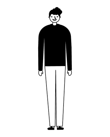man standing on white background vector illustration monochrome Illustration