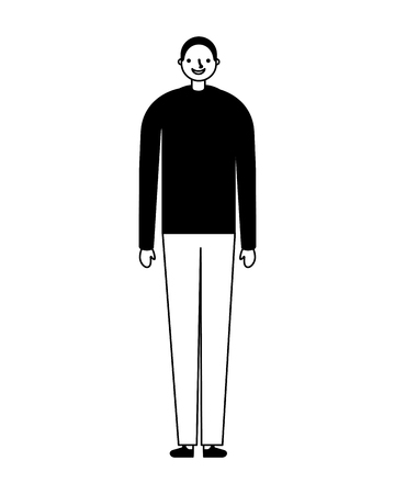 man standing on white background vector illustration monochrome Vettoriali