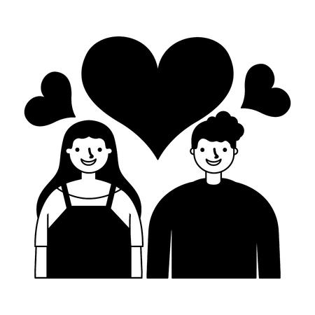 couple in love romantic hearts vector illustration monochrome