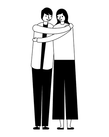 couple embraced romantic on white background vector illustration monochrome 向量圖像