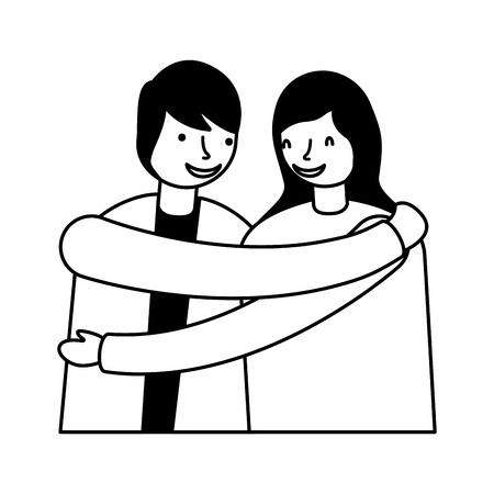 couple embraced romantic on white background vector illustration monochrome Иллюстрация