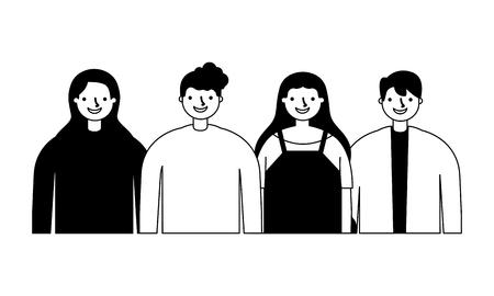 group men and women on white background vector illustration monochrome Illustration