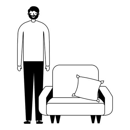 man standing near sofa with cushion vector illustration 일러스트