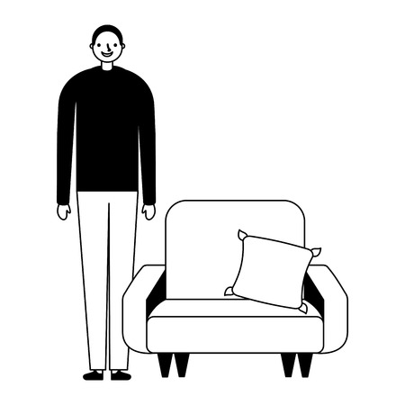 man standing near sofa with cushion vector illustration Vectores