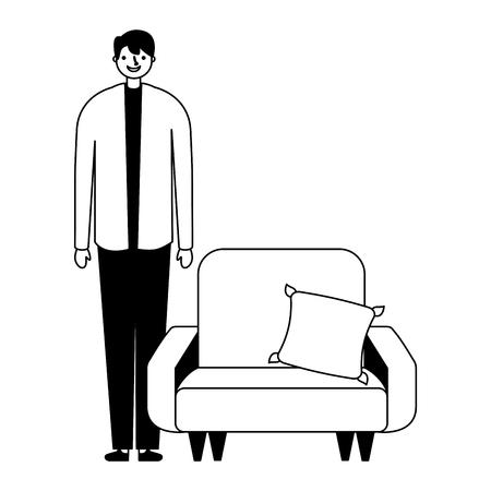 man standing near sofa with cushion vector illustration Illustration