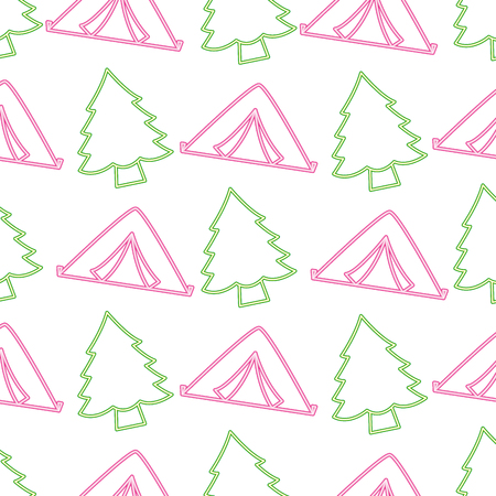 tent and pine tree neon camping pattern vector illustration